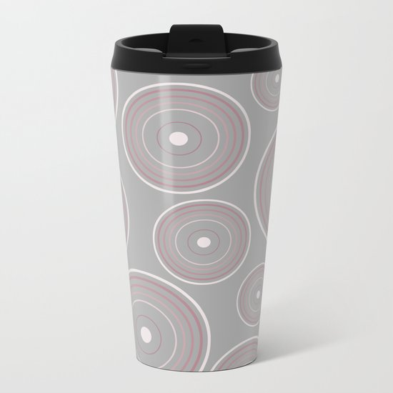 CONCENTRIC CIRCLES IN GREY (abstract pattern) Metal Travel Mug
