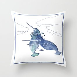 Blue Sea Narwhals Throw Pillow