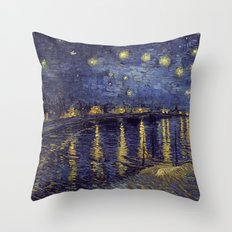Vincent Van Gogh Starry Night Over The Rhone Throw Pillow