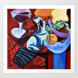 The Jug Did A Jig, Kitchen Cafe Fruit Bowl Wine Abstract Painting Art Print