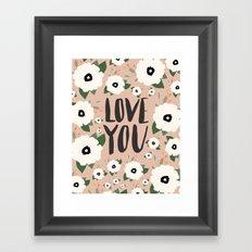Love you floral - Tan Framed Art Print