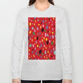 Rainbow Blotty Dotty Confetti Spots in Red Long Sleeve T-shirt