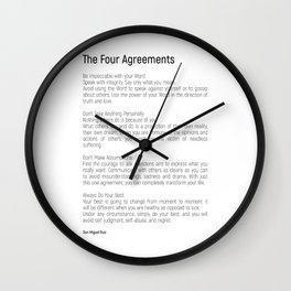 The Four Agreements #blackwhite #minimalism Wall Clock