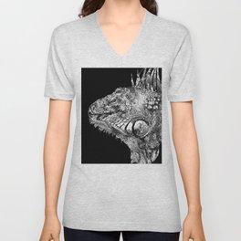 Black And White Iguana Art - One Cool Dude 2 - Sharon Cummings Unisex V-Neck