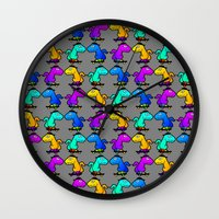 psychadelic Wall Clocks featuring Psychadelic skate dinos by Joe Schultz