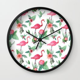 Flamingo Floral Tropical Wall Clock