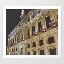 French Flags Fly Over Cannes at Night Art Print