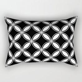 Large Black Geometric Circles Interlocking on White Background Rectangular Pillow