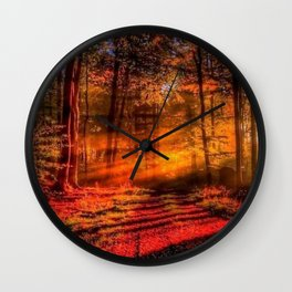 Misty Red Forrest Wall Clock