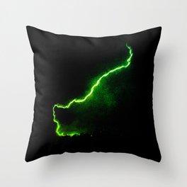 Chartreuse Lightning Throw Pillow