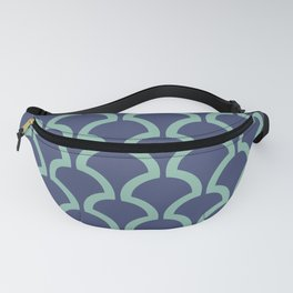 Classic Fan or Scallop Pattern 484 Blue and Green Fanny Pack