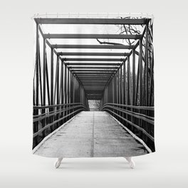 Bridge to Nowhere Black and White Photography Shower Curtain