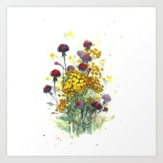 Watercolor wildflowers, aquarelle Art Print