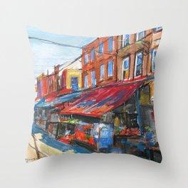 Philadelphia Italian 9th Street Market Throw Pillow