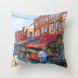 Philadelphia Italian 9th Street Market Throw Pillow