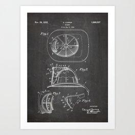 Firemans Helmet Patent - Fire Fighter Art - Black Chalkboard Art Print