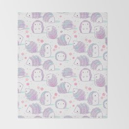 Spring Hedgehog Pattern Throw Blanket