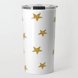 Merry christmas-Stars shining brightly-Gold glitter pattern Travel Mug