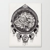 moon phase Canvas Prints featuring Flower Phase  by Paula Savage