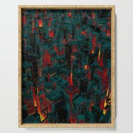 Night city glow cartoon Serving Tray
