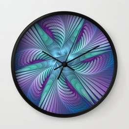 Colorful Grace, Abstract Fractal Art Wall Clock