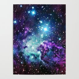 Fox Fur Nebula : Purple Teal Galaxy Poster