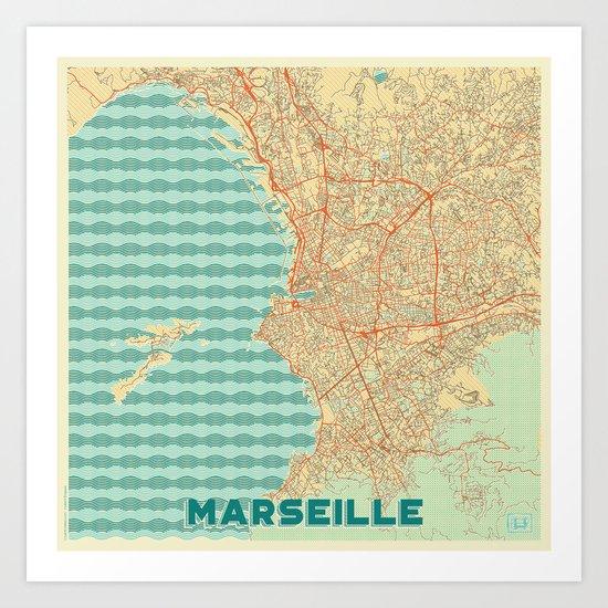 Marseille Map Retro by hubertroguski