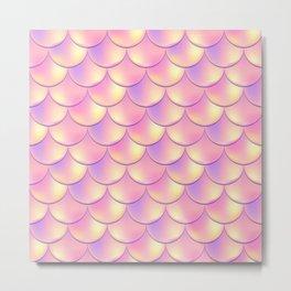 Orange Pink Mermaid Pattern, Holographic Fish Scale Print Metal Print