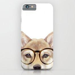 Shiba inu with glasses Dog illustration original painting print iPhone Case
