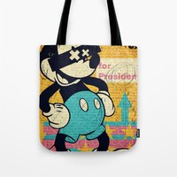 mickey Tote Bags featuring Tricky Mickey by Alec Goss