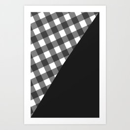 Gray Gingham  Art Print
