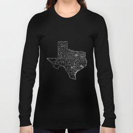Texas Black Map Long Sleeve T-shirt