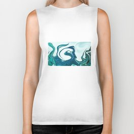 ocean waves abstract digital painting Biker Tank