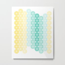 Abstract geometric ombre hexagons Metal Print