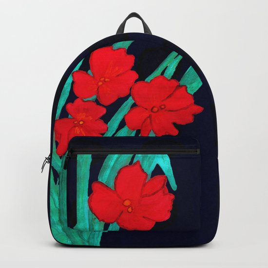 Red flowers gladiolus art nouveau style Backpack