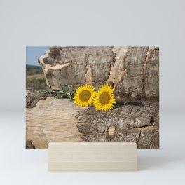 Sunflowers in wood Mini Art Print