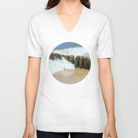 wooden V-neck T-shirts featuring Wooden Breakwater by Pati Designs