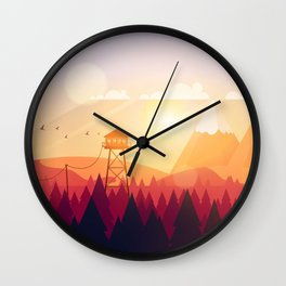 Vector Art Landscape with Fire Lookout Tower Wall Clock