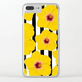 Summer Hibiscus Fun on Black & White Stripes Clear iPhone Case