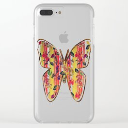 Wild Flowers on Stripes Clear iPhone Case