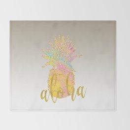 Metallic silver faux gold glitter tropical aloha pastel pineapple Throw Blanket