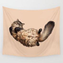 Cute Siberian cat lies tummy up Wall Tapestry