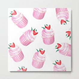 Strawberry Cupcakes Metal Print
