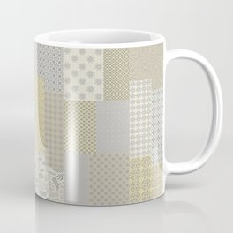 Modern Farmhouse Patchwork Quilt in Gray Marigold and Oatmeal Coffee Mug