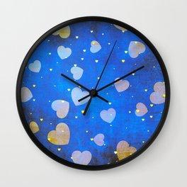 Hearts Dancing in the Blue Sky Pattern Wall Clock