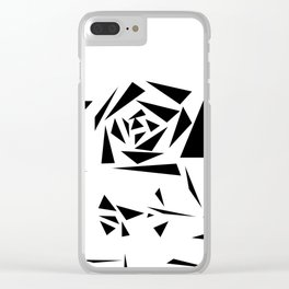 Abstract black white pattern rose on a white background . Clear iPhone Case