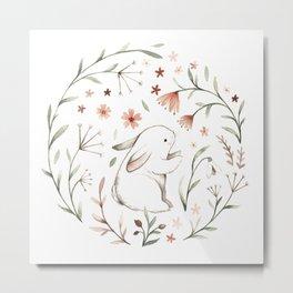 Watercolor Bunny Metal Print