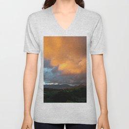 Yellow Cloud Sunset Sky Landscape Skyscape Unisex V-Neck