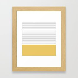 Minimal Gray Stripes - yellow Framed Art Print
