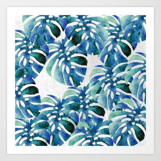 Monstera Pattern Green And Blue Art Print